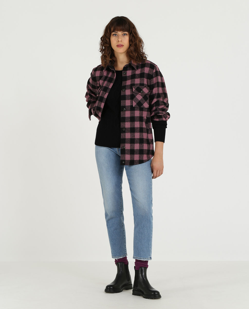 Lady Outer Shirt MAUVE BLACK BUF