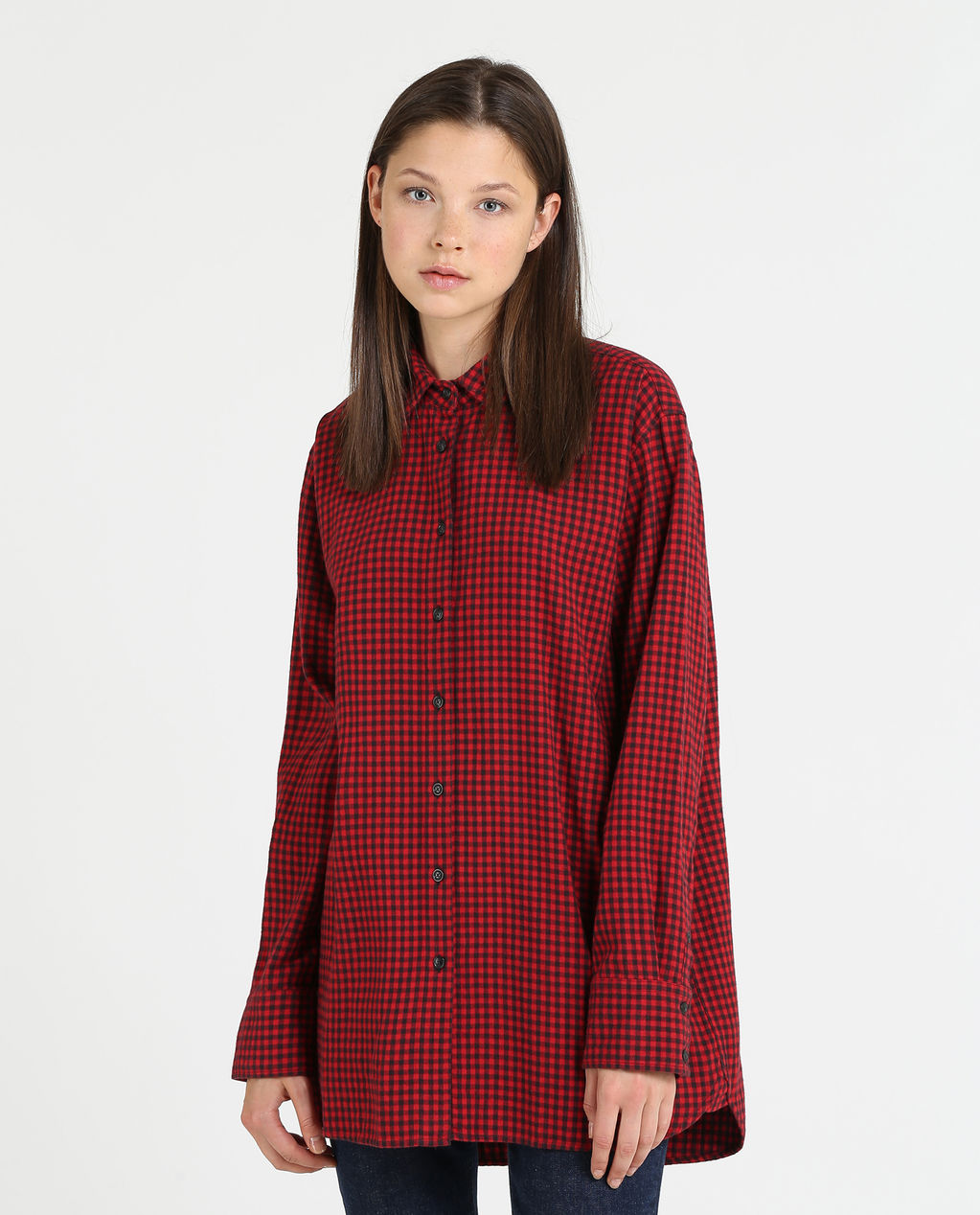 W'S Flannel Check Long Shirt RED MICRO BUFFA