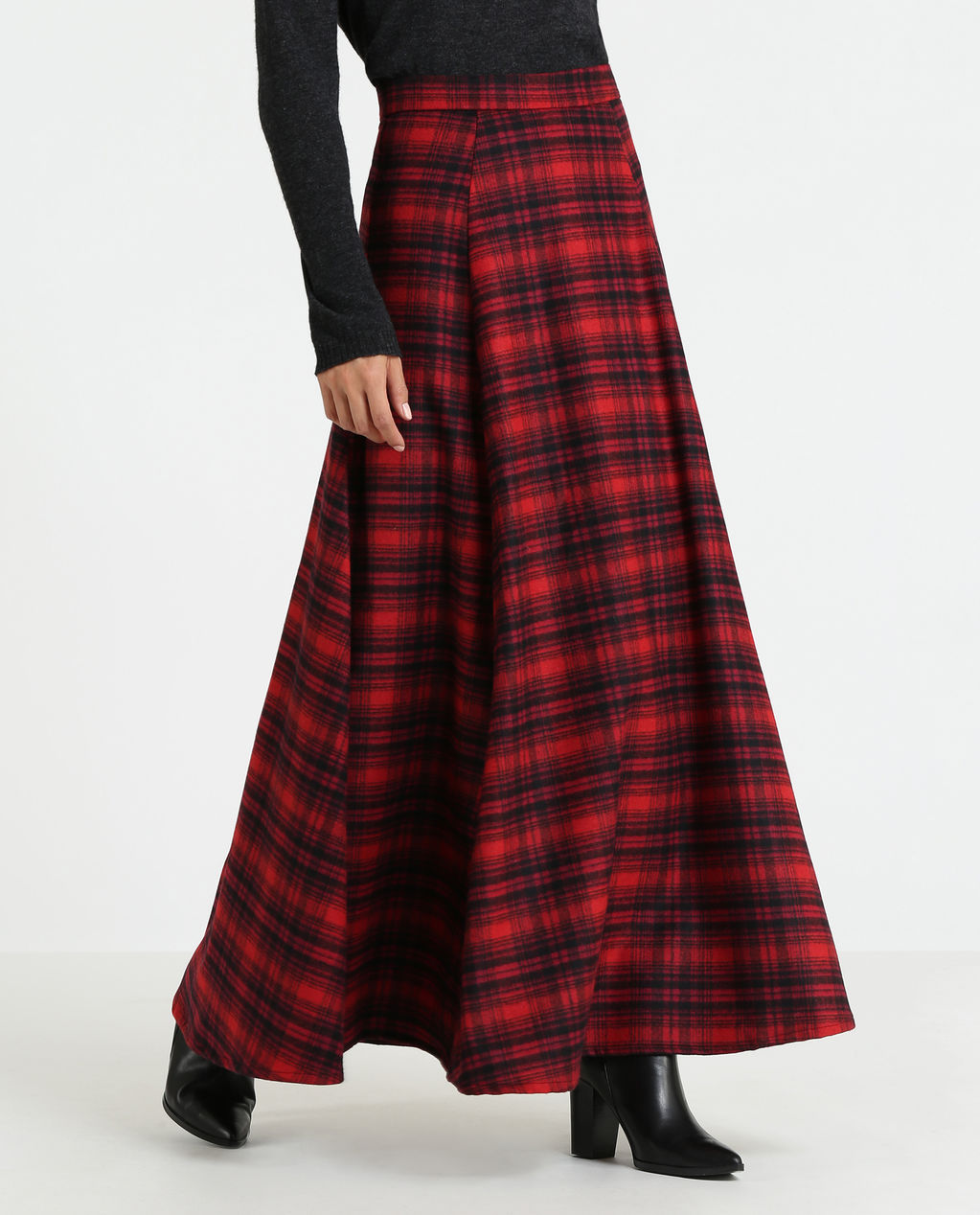W'S Stretch Wool Long Skirt Red Hunting