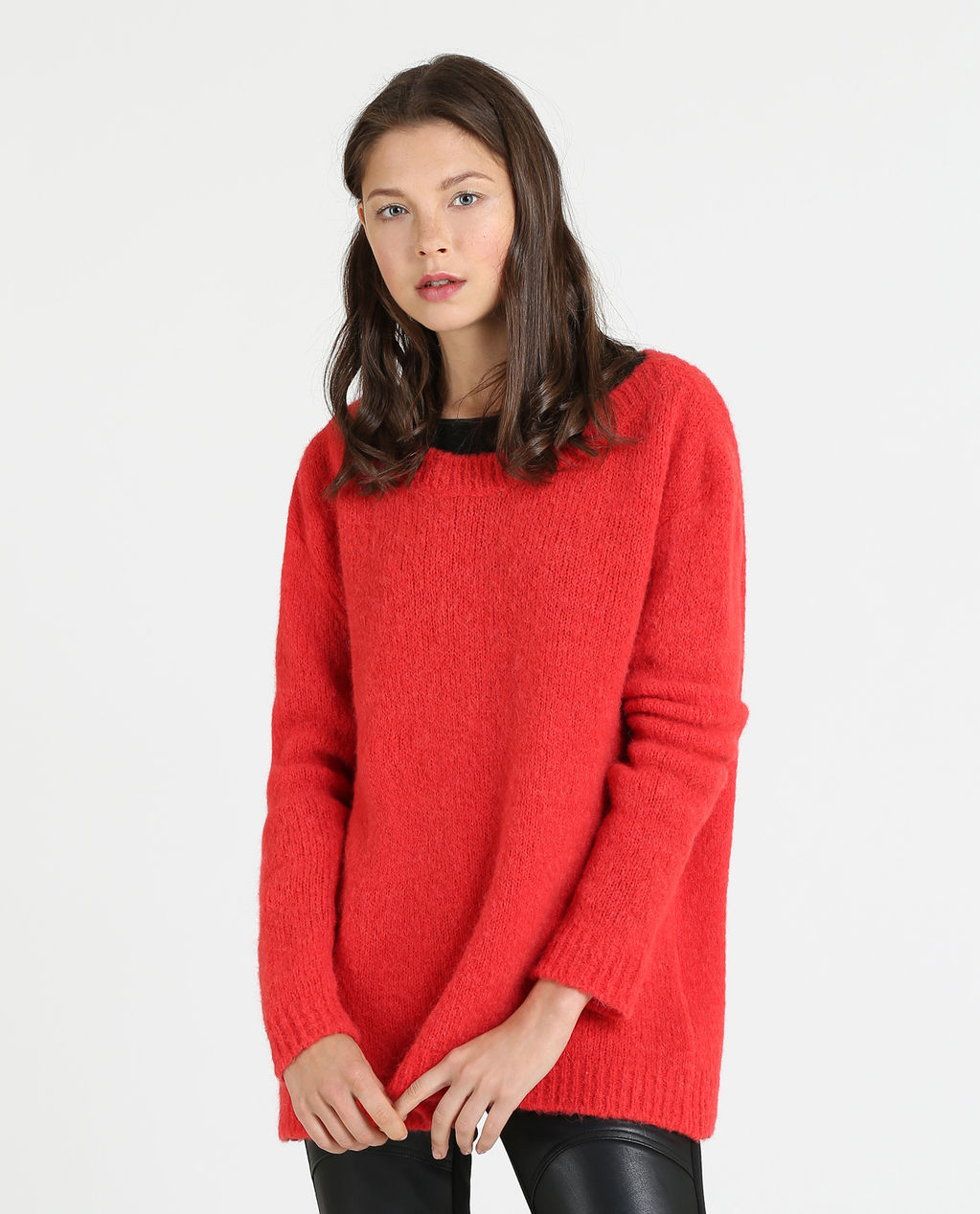 W'S Alpaca V-Neck Sweater LIPSTICK ROUGE