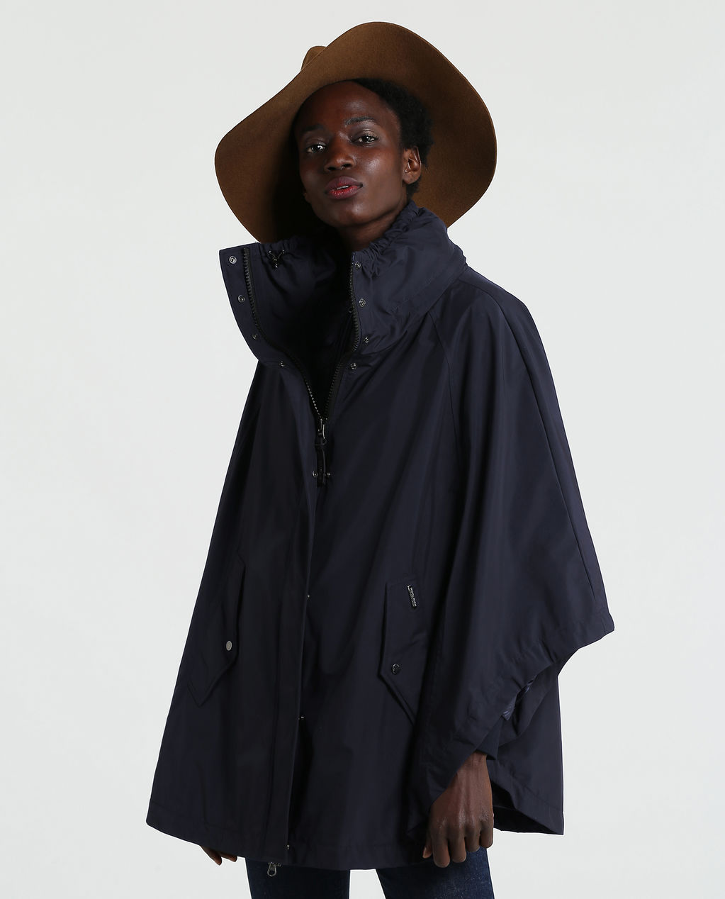 W'S High Collar Cape 3In1 MELTON BLUE
