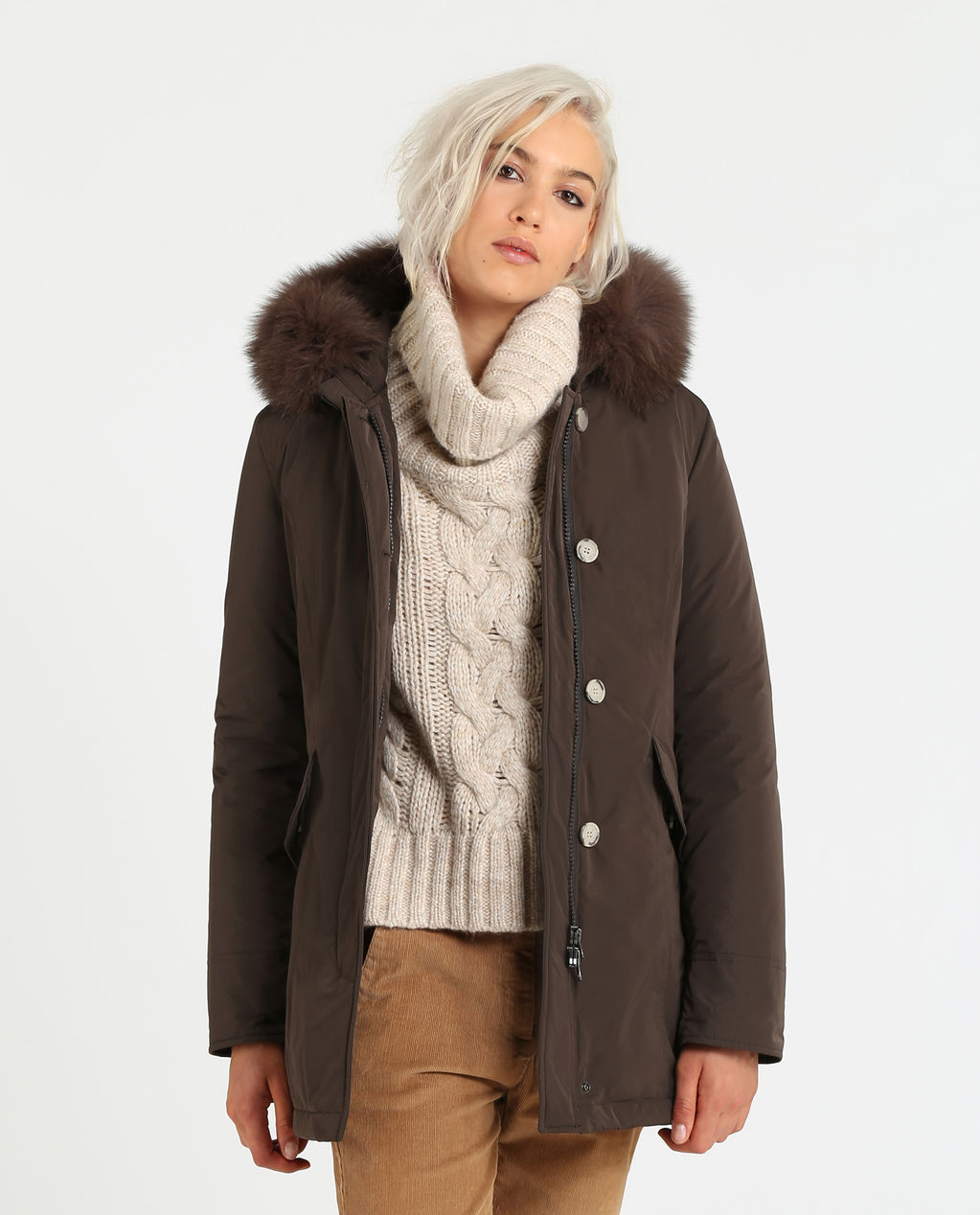 W'S Luxury Arctic Parka Fox American Coffee