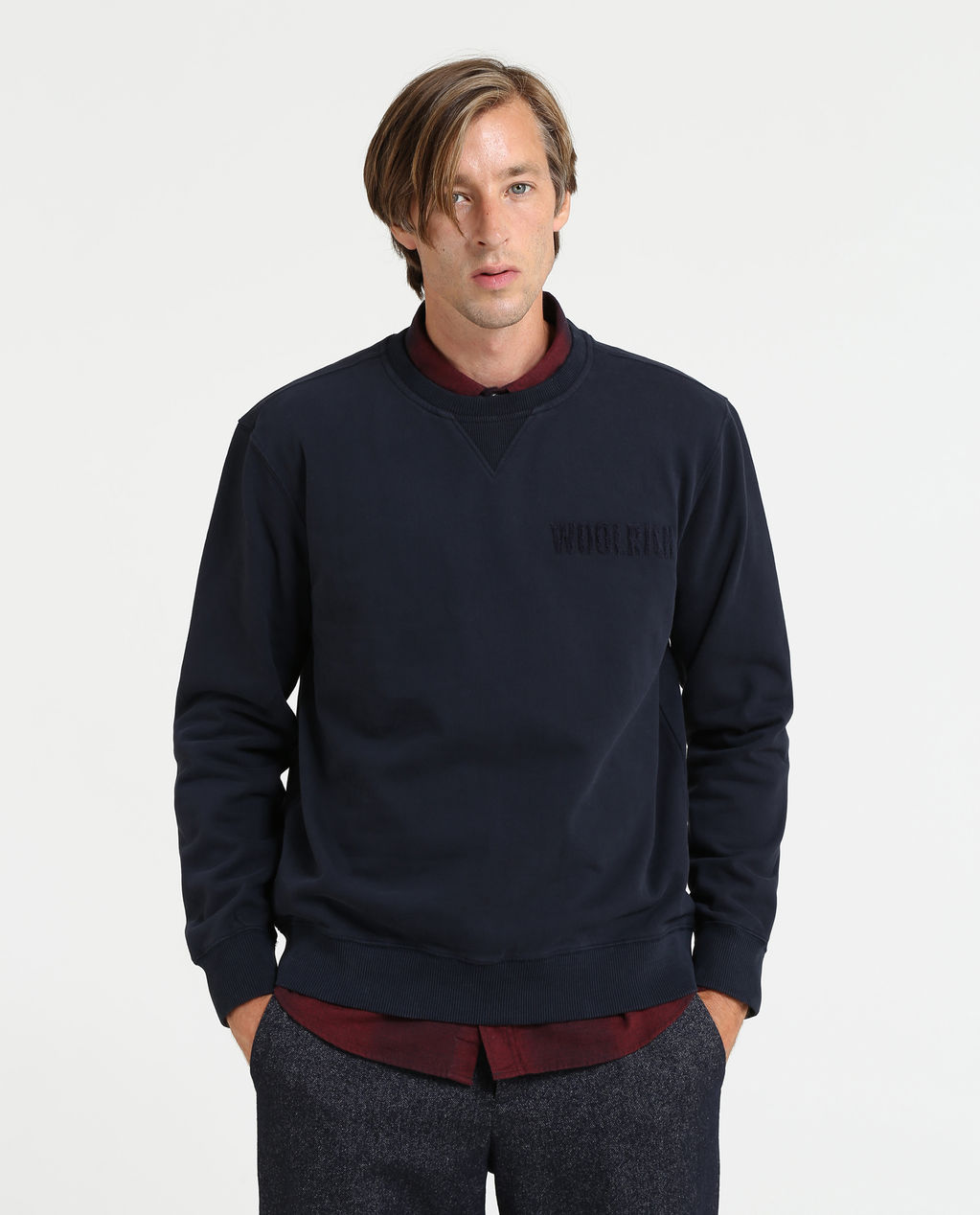 Logo Crew Neck MELTON BLUE A