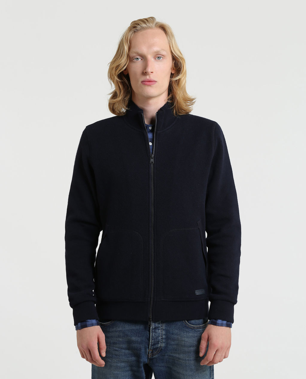 Light Wool Cotton Track Jkt MELTON BLUE